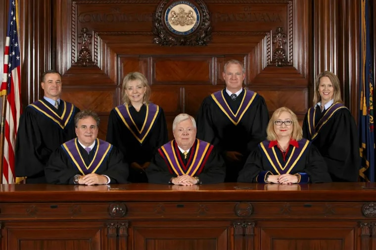 The Pennsylvania Supreme Court justices. A Republican-proposed constitutional amendment would gerrymander the court by creating judicial districts.