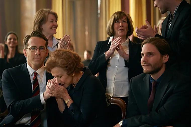 Ryan Reynolds, Helen Mirren, and Daniel Bruhl. (Photo credit: The Weinstein Company)