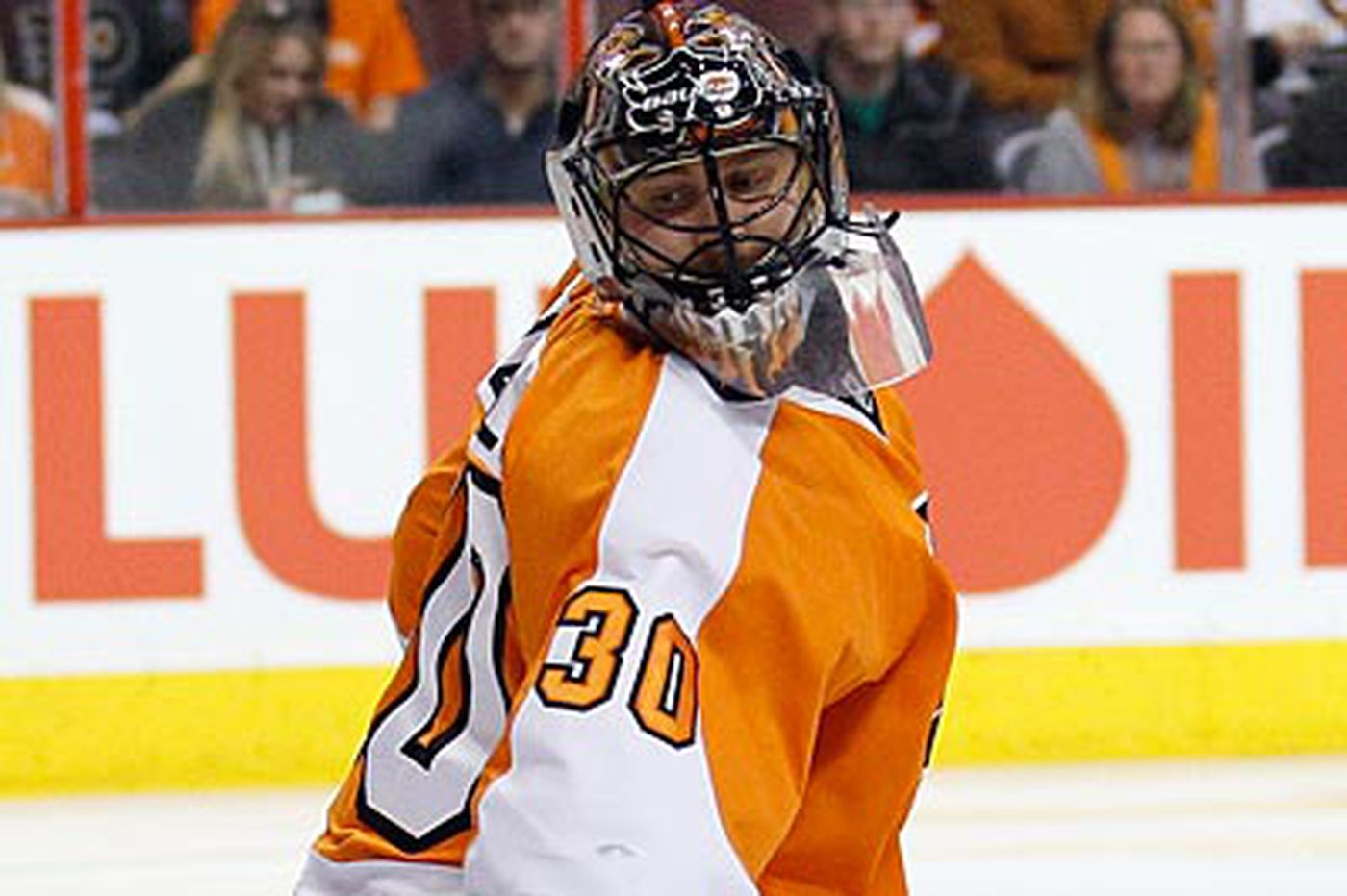 Bryzgalov practices, but he'll probably miss both games this weekend