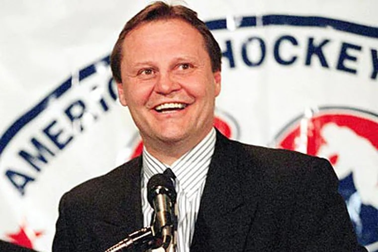 """""""I think it was the first time I was on skates in almost 10 years,"""" Bill Barber said about skating earlier this month. (File photo)"""