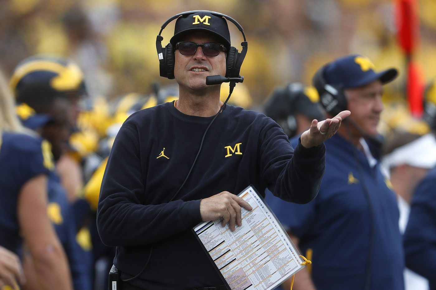 Michigan coach Jim Harbaugh not concerned over momentum loss going into Penn State game