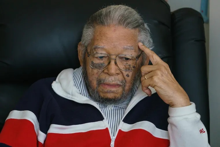 """After serving in the Army during World War II, Nelson Henry received a racially discriminatory """"blue discharge"""" because he was black, Henry is shown here in his apartment in Philadelphia, April 25, 2019. Now, more than 70 years later, Henry, 95, wants the Army to clear his name and grant him an honorable discharge."""