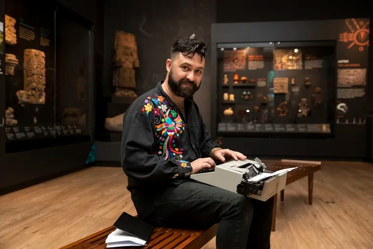Carlos José Pérez Sámano at the Penn Museum in Philadelphia, Pa. on Wednesday, August 4, 2021. Pérez Sámano is the first artist in residence at the museum, and is developing a series of poetry workshops throughout the city.