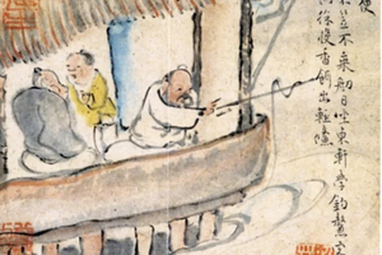 """Detail from """"Convenient for Fishing"""" from """"Ten Conveniences,"""" about 1771, ink and color on paper, a Japanese National Treasure."""