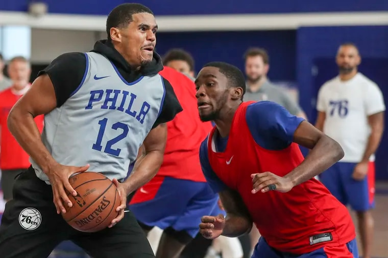 Tobias Harris drives to the basket during a scrimmage at practice at the 76ers training complex in Camden.