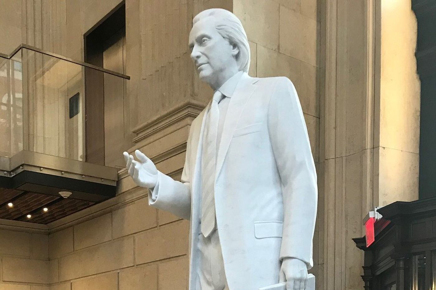 Larger than life, it's lawyer Tom Kline, in stone, at Drexel - Update 4/16