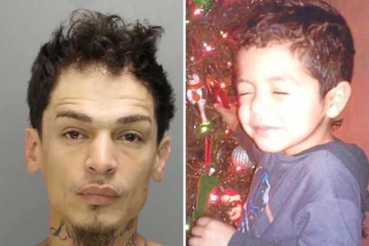 Carlos Manuel Lebron (left) is accused of abducting Yandel Ernesto Rosario, the 4-year-old son of his ex-girlfriend. (Photos courtesy of Philadelphia police)