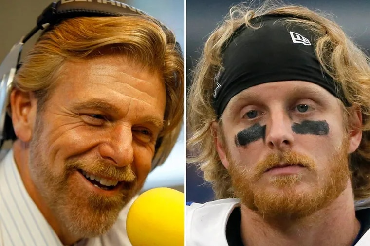Cowboys wide receiver Cole Beasley (right) was unhappy with a tweet sent by WIP host Howard Eskin (left).