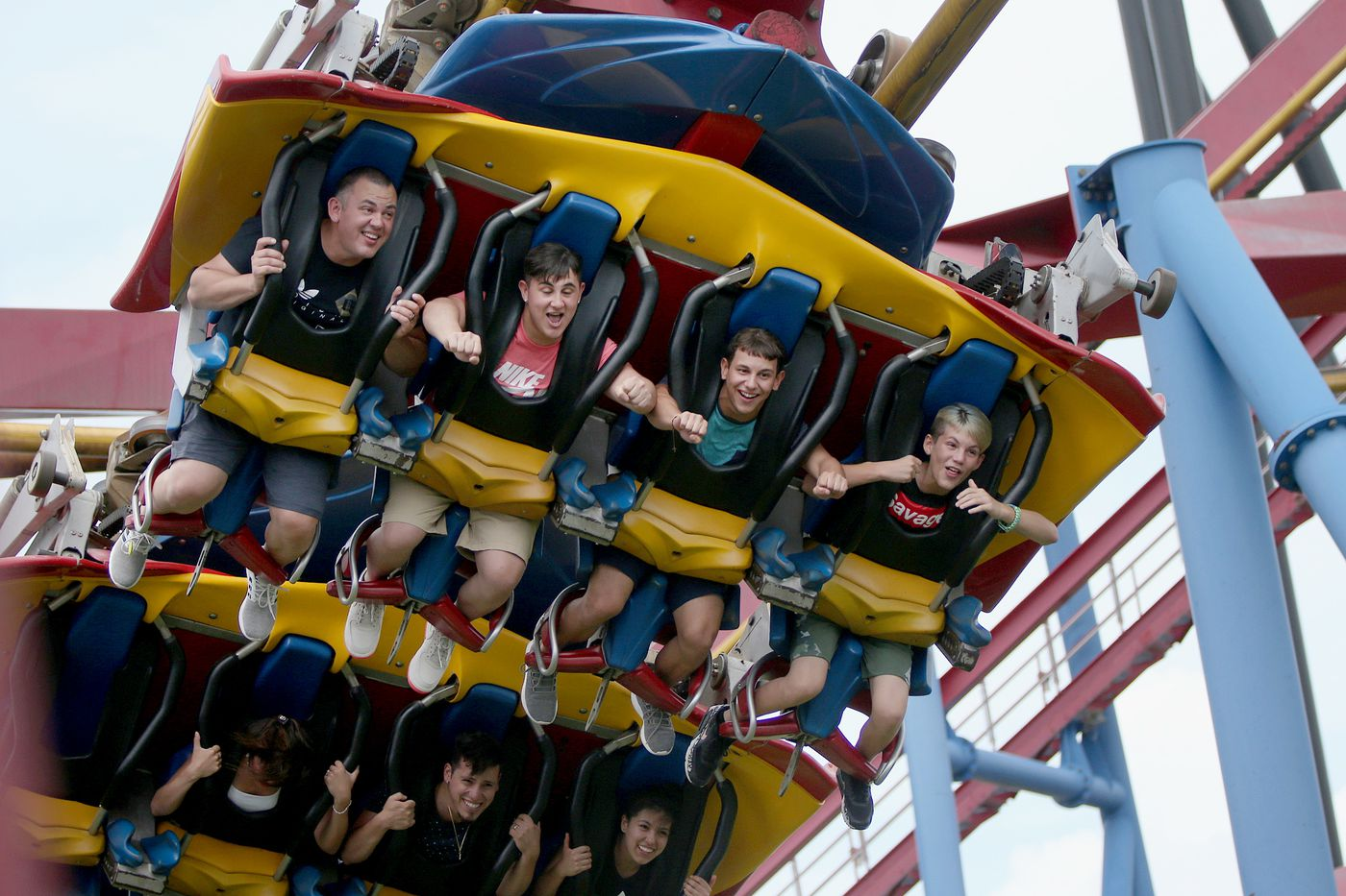 People on the Superman roller-coaster at Great Adventure.