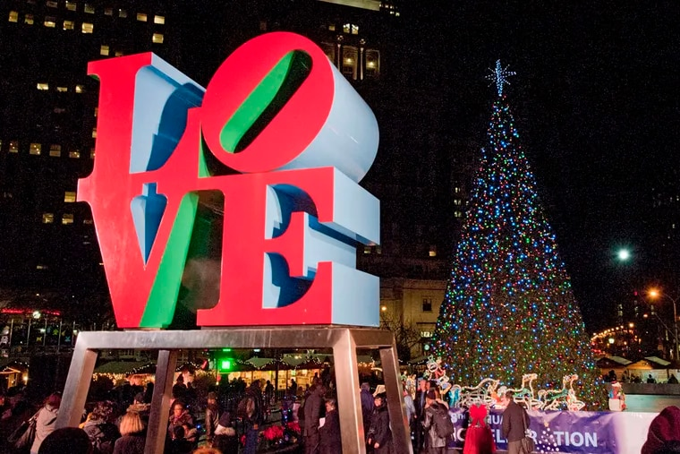 Philadelphia's Christmas tree shines brightly in LOVE Park after the lighting ceremony.