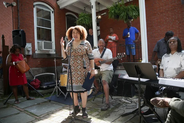 Monique Greenwood speaks during an open house at the new Akwaaba Bed and Breakfast in West Philadelphia on Wednesday, July 4, 2018. The Philadelphia location is the latest addition to the bed and breakfast chain started by Greenwood and her husband, Glenn Pogue. TIM TAI / Staff Photographer