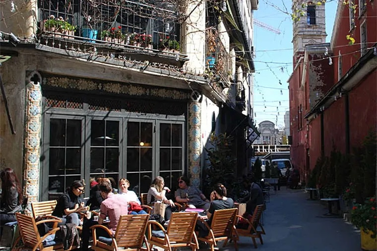 In the Karakoy neighborhood of Istanbul, cafes and galleries share space with the hardware stores and workshops from the district's industrial past. (Sisi Tang/AP)