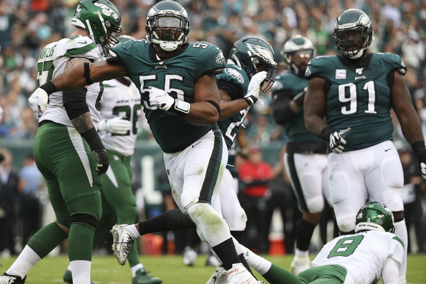 Eagles' Brandon Graham collects three of 10 sacks vs. Jets as defense dominates, 31-6 | Four quick takes
