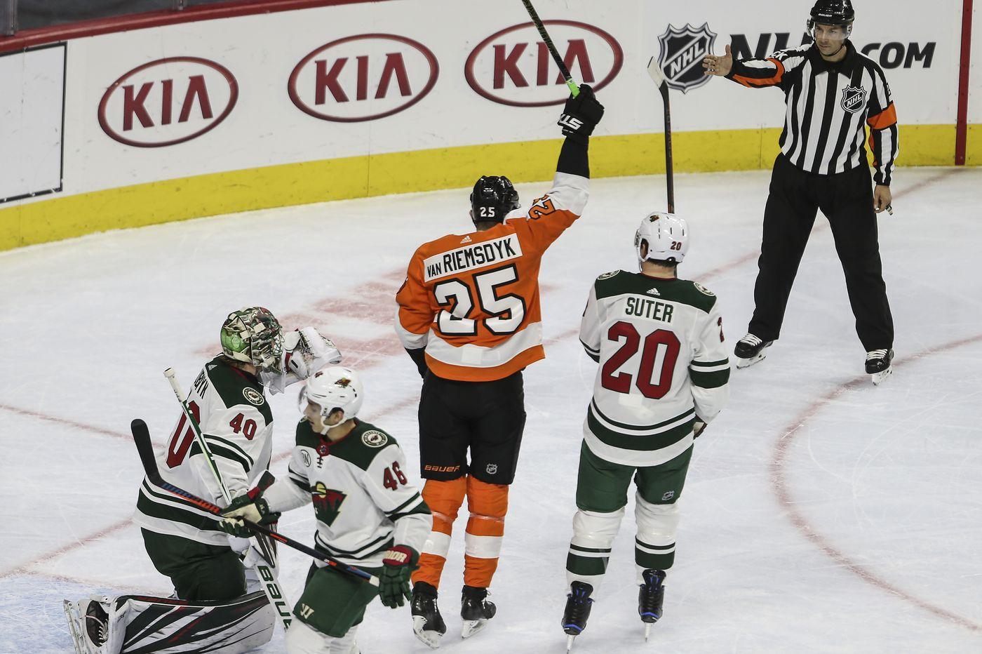 Nolan Patrick snaps slump, James van Riemsdyk scores hat trick as Flyers rally past Wild