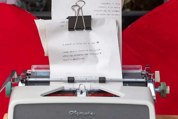 A poem on a typewriter. Five West Philly artists are producing new projects in the neighborhood through Everyday Places Artists Partnerships. Each project, supported by Barnes West, is based at a neighborhood business or centers, with the intention to give West Philadelphians more opportunities to interact with art.