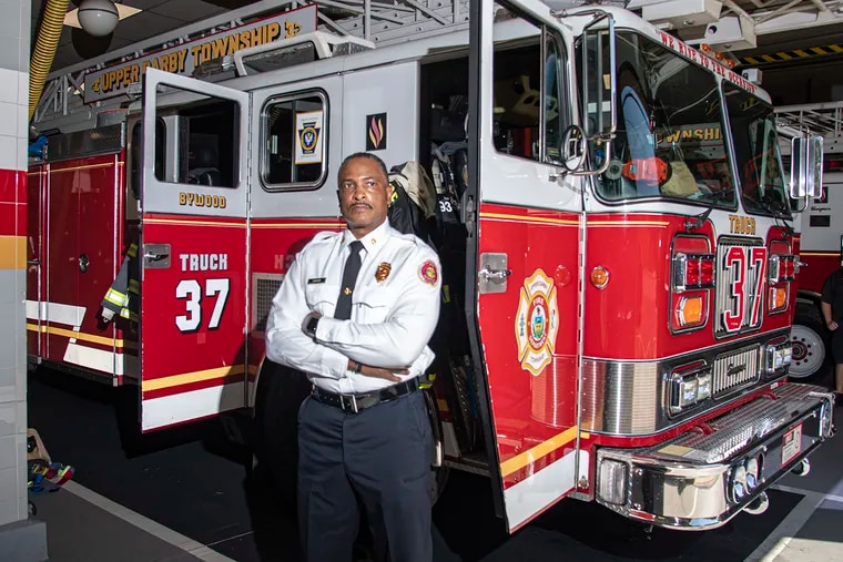 Upper Darby Township's new Fire Chief, Derrick Sawyer, former Philadelphia fire commissioner, in his first week on the job as the first African-American to lead the Philadelphia border town's fire department.