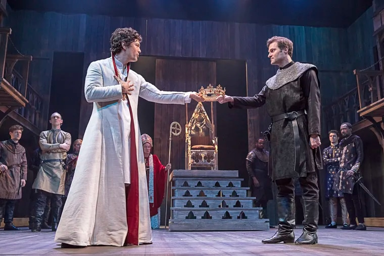 """Christian Coulson (left) as Richard and Justin Adams as Bolingbroke in """"Richard II,"""" at the Pennsylvania Shakespeare Festival in summer 2018."""