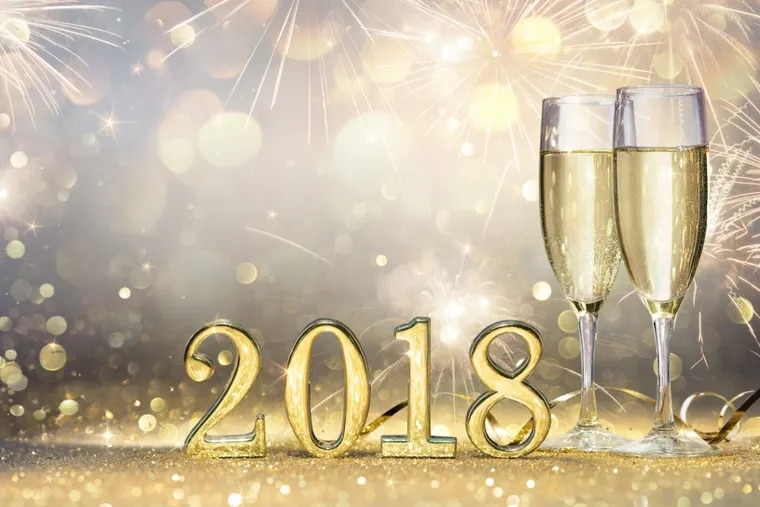Flutes With Champagne And 2018 Numbers