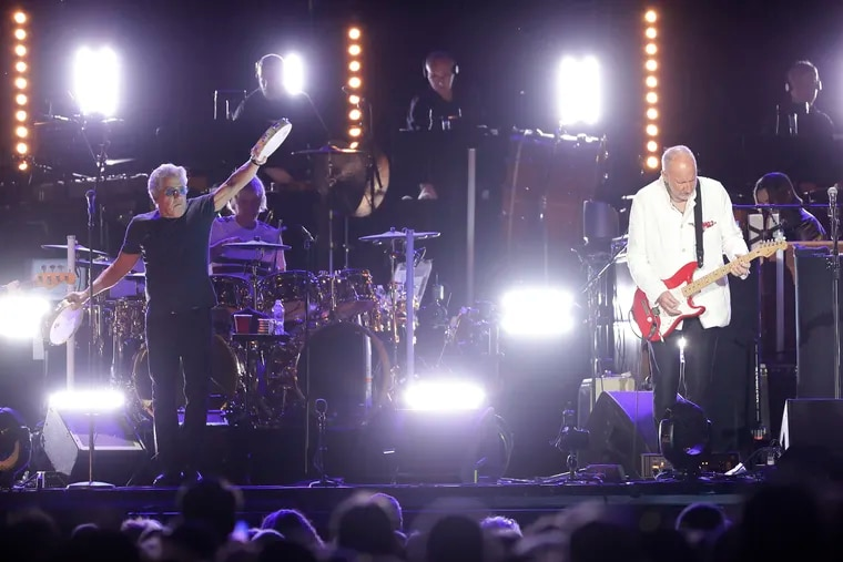 The Who lead vocalist Roger Daltrey and lead guitarist Pete Townshend perform at Citizens Bank Park in South Philadelphia on Saturday, May 25, 2019.