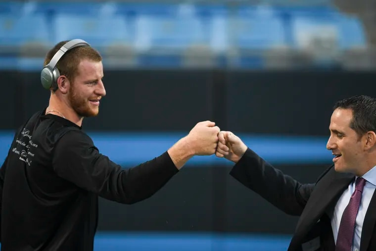 Happier days for Carson Wentz and Howie Roseman, who pretty much has to trade his franchise QB after all that's happened this offseason.