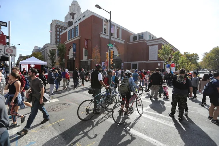 Third and Chestnut Streets was without car during Philly Free Streets on Saturday, October 28, 2017.