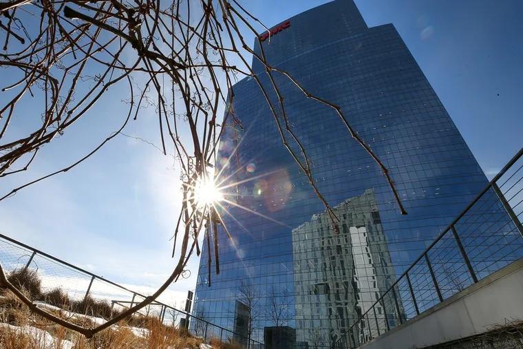 FMC Tower, as seen from the Cira Green plaza atop an adjacent parking structure.