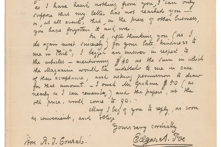 A letter from Edgar Allan Poe to Robert Taylor Conrad, a Philadelphia lawyer, playwright, and editor of Graham's Magazine, was sold for $125,125 at an online auction by RR Auction of Boston on Oct. 7.