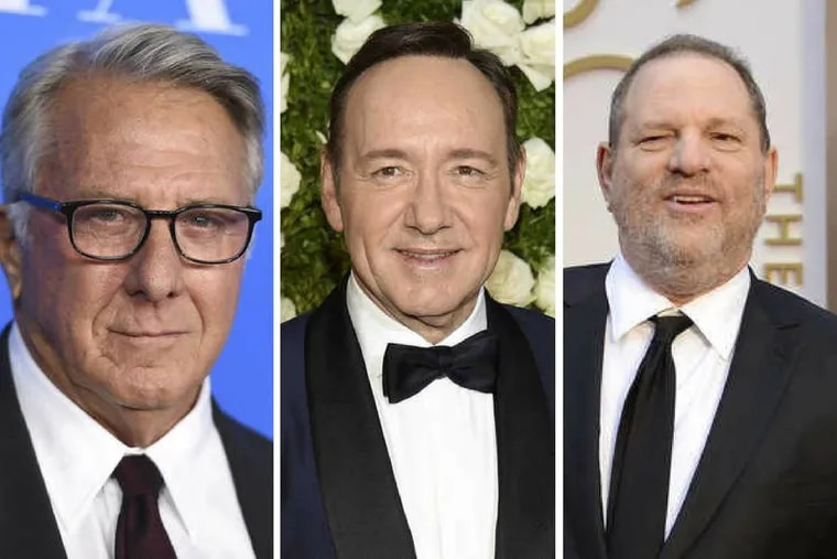 In the last few weeks, many famous men, including Dustin Hoffman, Kevin Spacey, and Harvey Weinstein (pictured, from left), have been accused of sexual harassment.