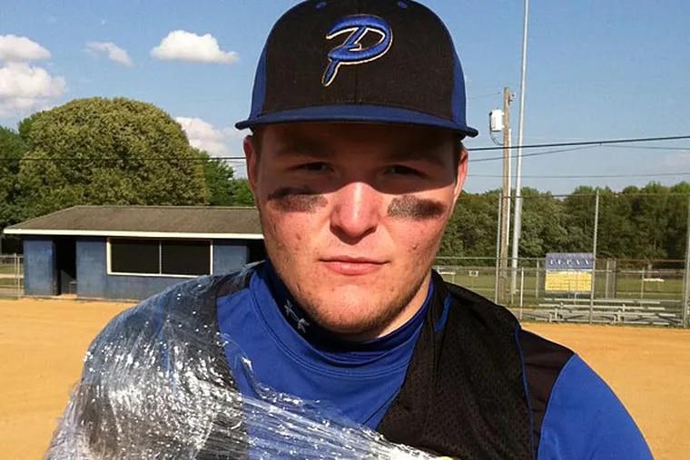 Pennsville senior Luke Westfield after throwing 3 hitter in 5-2 win over Pitman Monday.