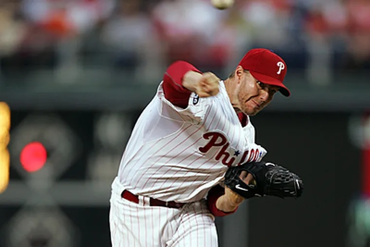 Roy Halladay pitched eight innings and allowed one earned run. (David Swanson / Staff Photographer)