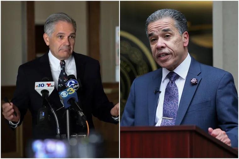 Philadelphia District Attorney Larry Krasner, left, and challenger Carlos Vega, right.