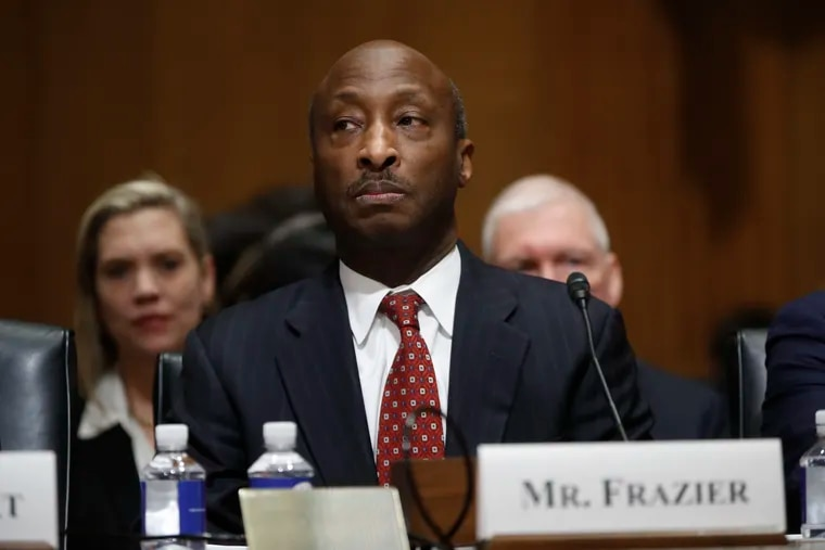 Kenneth Frazier, Chief Executive Officer of Merck & Co., Inc., at a U.S. Senate Finance Committee hearing on Feb. 26, 2019 in Washington. Frazier has organized a recent effort among corporate leaders to oppose voting restrictions. (AP Photo/Pablo Martinez Monsivais)