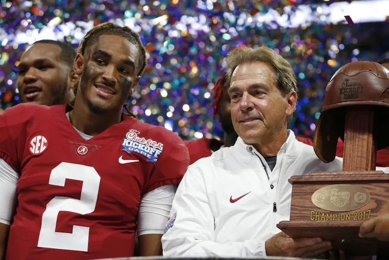 """Alabama head coach Nick Saban (right), seen here with then-Crimson Tide quarterback Jalen Hurts, will be a guest on ESPN's alternate """"Monday Night Football"""" broadcast hosted by Peyton and Eli Manning."""