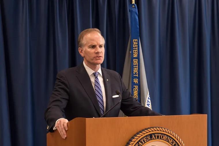 US Attorney William J. McSwain announcing guilty plea of former Philadelphia election judge Domenick J. DeMuro.