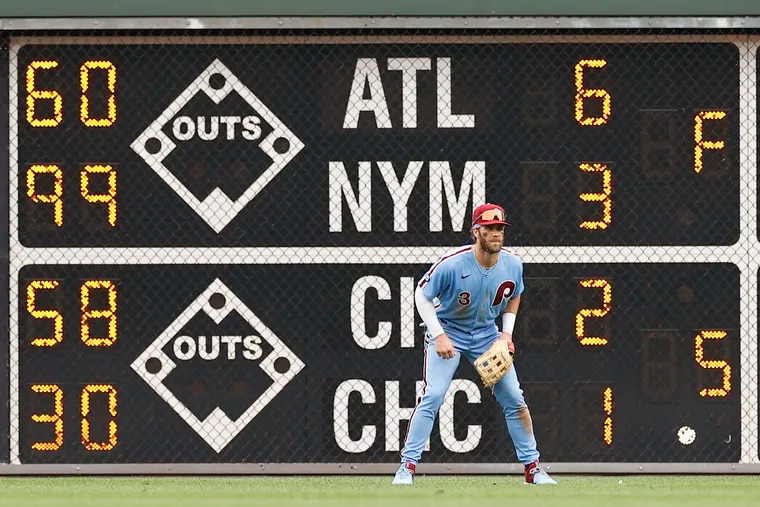 Bryce Harper and the Phillies figure to be doing a lot of scoreboard watching over the next seven weeks.