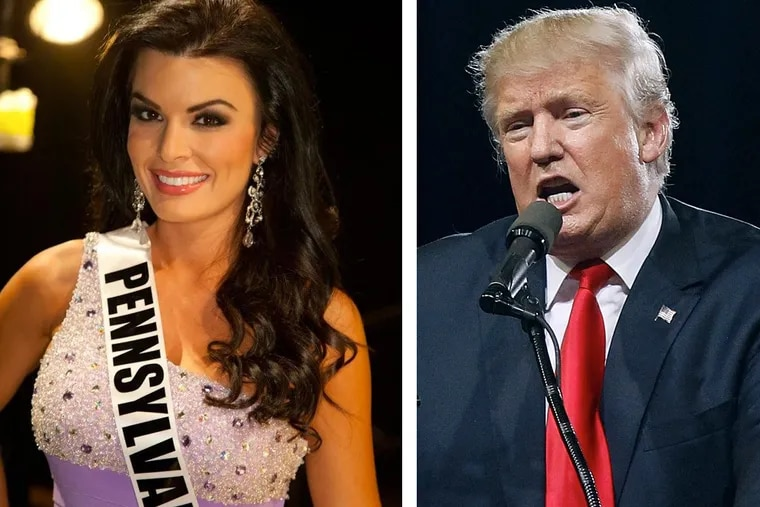 Former Miss Pennsylvania Sheena Monnin (left) was successfully sued by Donald Trump after the 2012 Miss USA pageant.