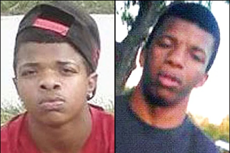 Justin Robinson, 15 (left) and Dante Robinson, 17, (right) are suspected of strangling Autumn Pasquale, 12. Justin Robinson is also charged with luring Autumn to the Robinsons' house. (Instagram/Facebook photos)