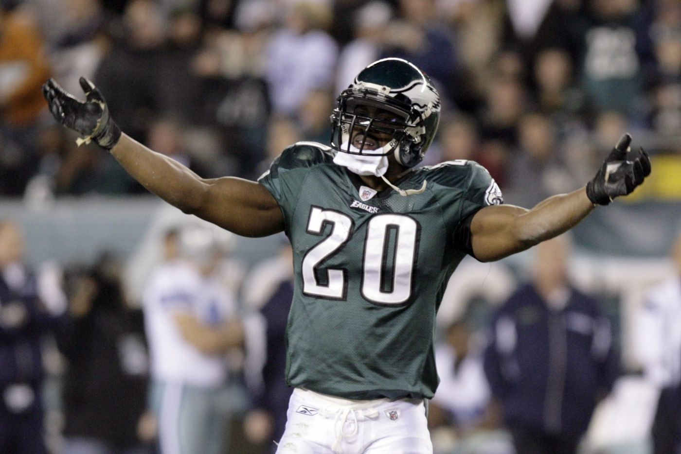 ab702663a07 Dawkins celebrates during the Eagles' beatdown of their division rival in  2008, which would