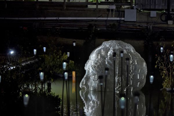 A Philly artist created a giant sculpture of his father's head that disappears with the tides. Imagine his father's surprise.