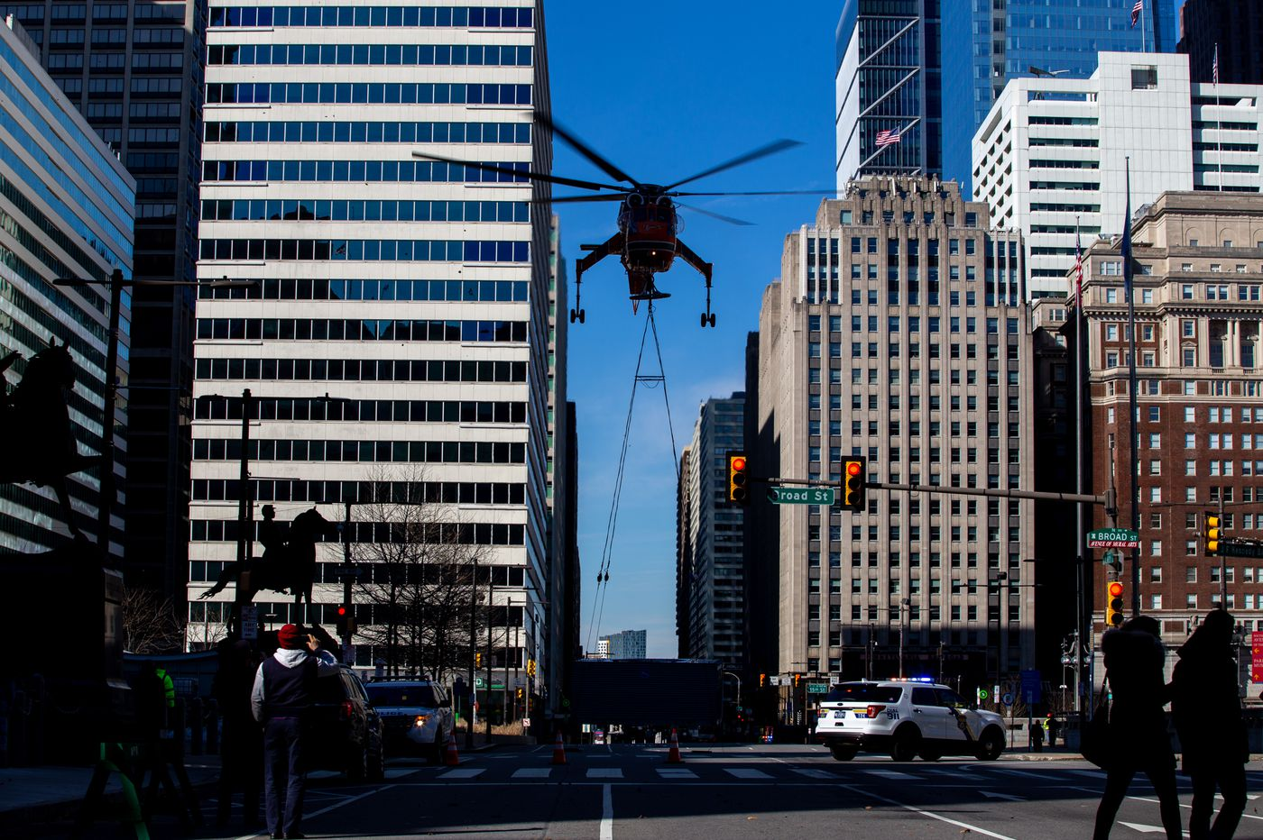 'Pretty crazy': Helicopter disrupts travel, impresses Center City onlookers