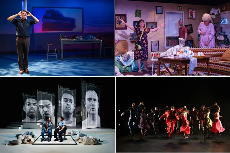 """Things we liked in 2017 (Clockwise from upper left):  """"The Absolute Brightness of Leonard Pelkey"""" at the Philadelphia Theatre Company; """"HIR"""" at Simpatico Theatre; """"Blood Wedding"""" at the Wilma Theater; """"We Shall Not Be Moved"""" at Opera Philadelphia."""