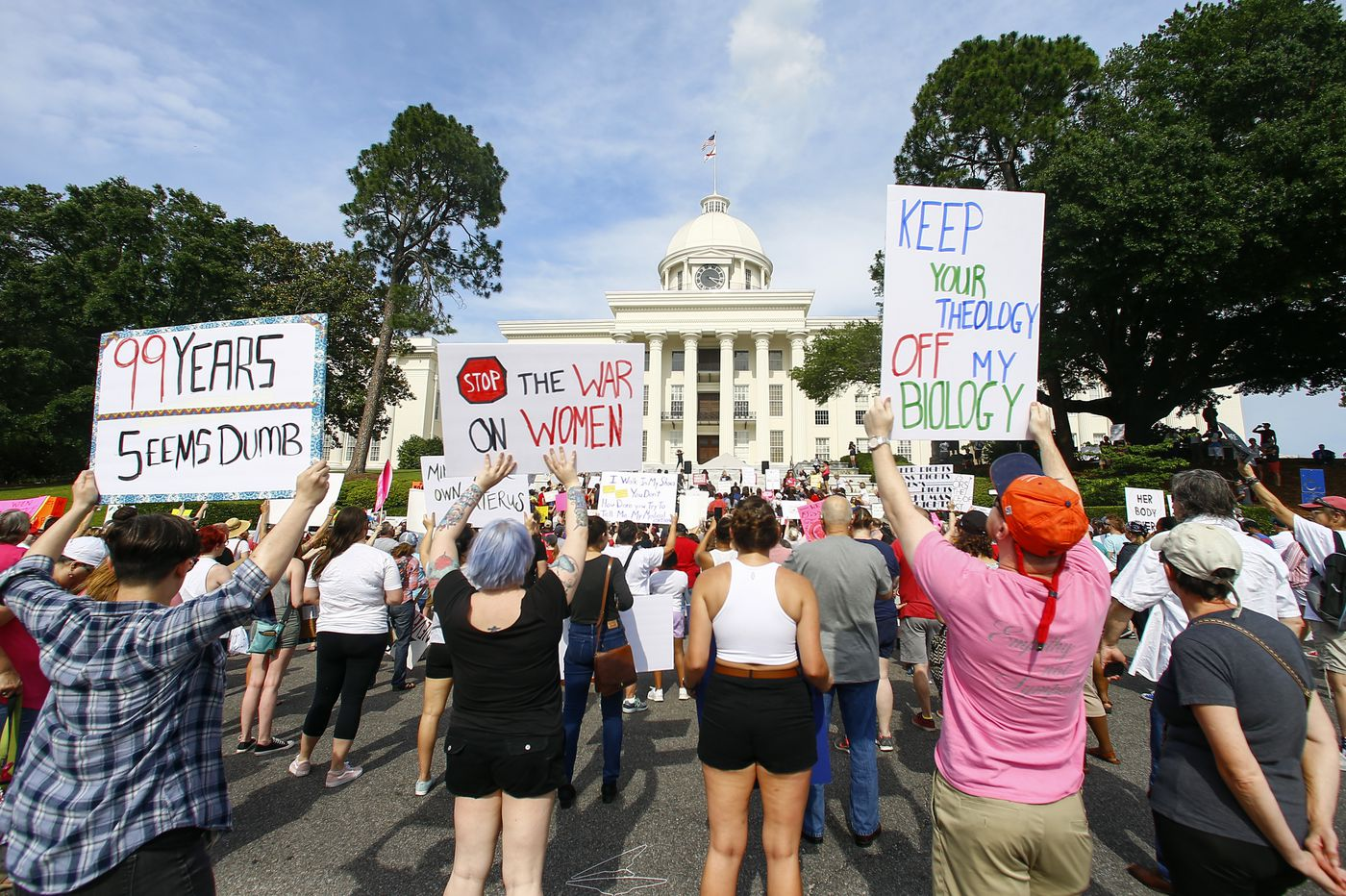 Hundreds protest Alabama's abortion ban at state capitol