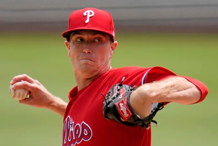 Starting pitcher Kyle Gibson, making his Phillies debut, delivers during the first inning of a baseball game against the Pittsburgh Pirates in Pittsburgh, Sunday, Aug. 1, 2021.  He pitched into the seventh inning.