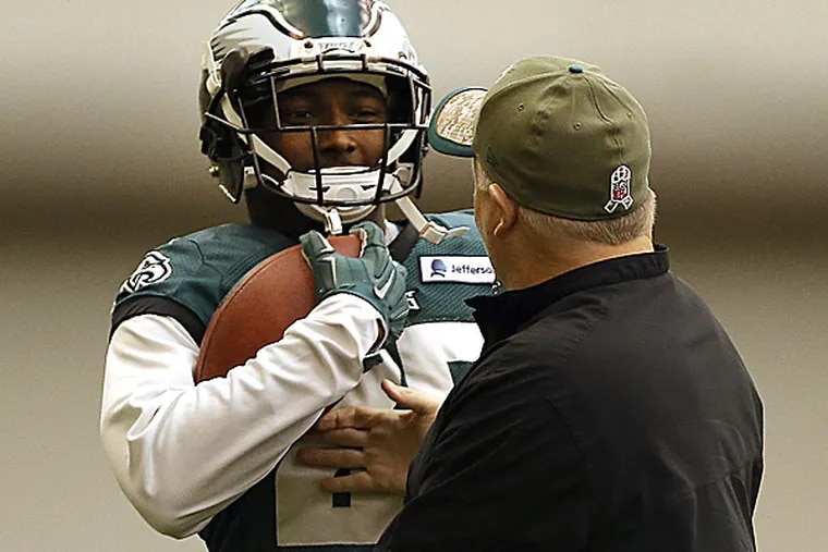 Eagles running back LeSean McCoy and head coach Chip Kelly. (David Maialetti/Staff Photographer)