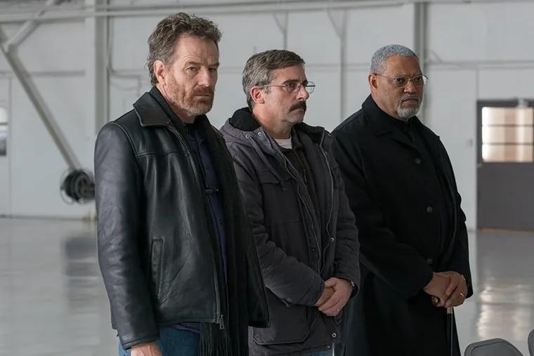 Laurence Fishburne, Steve Carell, and Bryan Cranston in 'Last Flag Flying.'
