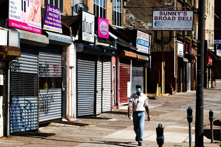Shuttered businesses in Philadelphia on May 7, 2020. Business closures forced by the coronavirus pandemic has led to millions of job losses.