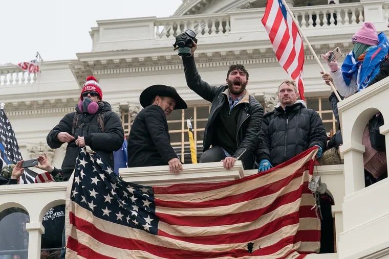 Rioters outside the Capital on Wednesday in Washington.