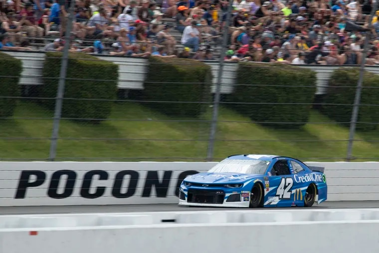 Kyle Larson driving down the front stretch during a NASCAR Cup Series auto race at Pocono Raceway on June 2, 2019.