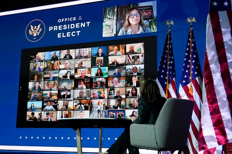 Vice President-elect Kamala Harris attending a virtual meeting in Wilmington, Del., on Monday.
