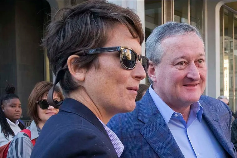 City Director of LGBT Affairs Nellie Fitzpatrick with then-candidate and now Mayor Kenney. Fitzpatrick says she was ousted from her $90,000 a year job.